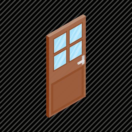 design, door, element, glass, isolated, isometric, wooden icon