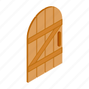 ancient, design, door, element, isolated, isometric, wooden icon