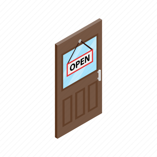 come, door, hanging, isolated, isometric, open, store icon