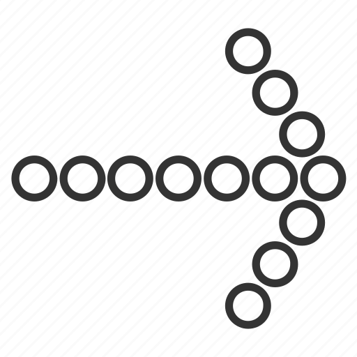 circle dots, cursor, move, next, pointing arrow, right, send icon