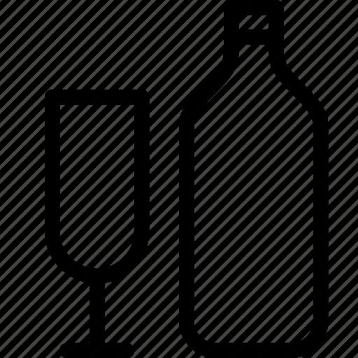 alcohol, bottle, drink, glass, liquor icon