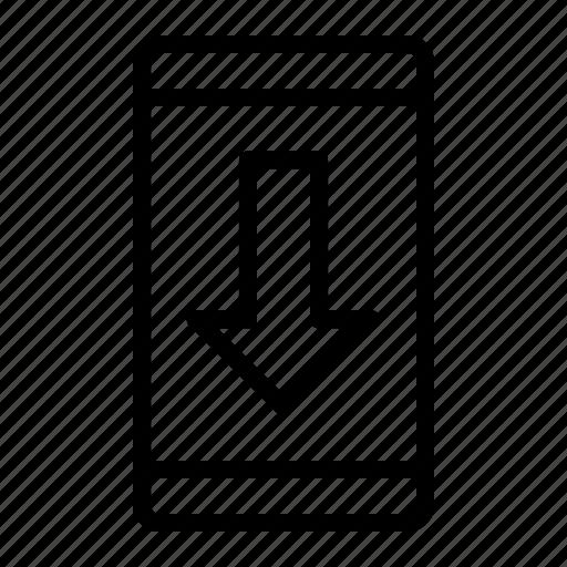 arrow, download, smartphone icon
