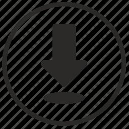 arrow, bottom, download, internet icon
