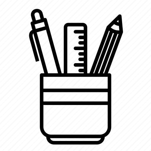drawing, equipment, stationery bucket, tool, working desk icon