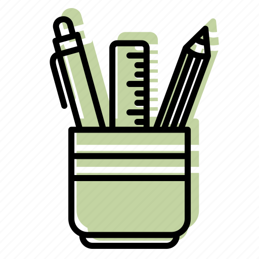 drawing, equipment, office, stationery bucket, tool, working desk icon