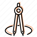 design, drawing, drawing compass, equipment, tool icon