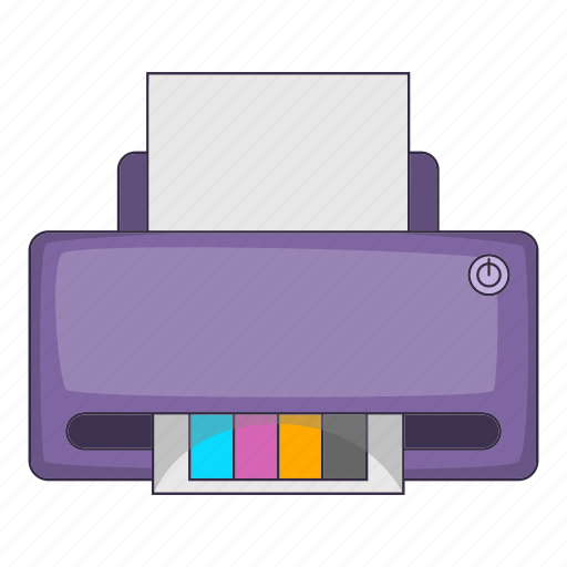 cartoon, computer, paper, printer icon