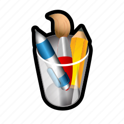 brush, cup, drawing, pen, pencil, tools icon