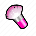 blush, brush, dress, make, makeup icon