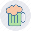 alcohol, alcoholic beverage, ale, beer mug, cold beer, mug of beer icon