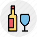 alcohol, alcoholic drink, beverage, bottle, drink, glass icon
