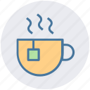 cup and tea bag, hot drink, instant tea, tea, tea cup icon