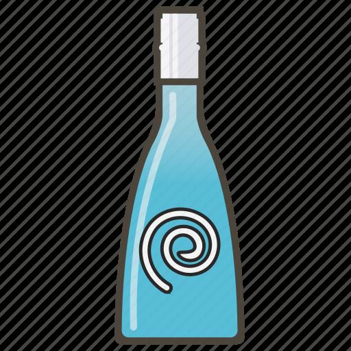 blue liqueuer, booze, bottle, drink icon