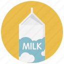 beverage, carton, drink, food, milk, milk bottle, milk pack icon