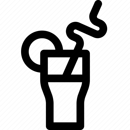 alcohol, beverage, cocktail, curved, glass, lemon, straw icon