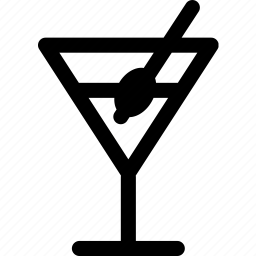 alcohol, beverage, cocktail, drink, glass, martini, olive icon