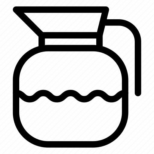 container, drinks, glass, jug, kettle, line-icon, storage icon