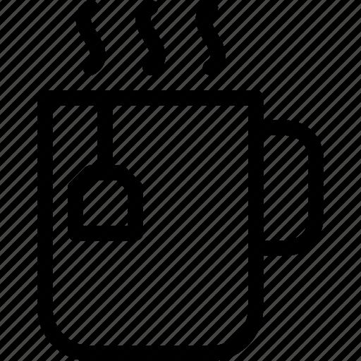 aromatic, beverage, line-icon, mug, tea, tea-bag, tea-mug icon
