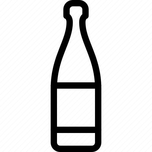 bottle, container, fermented-drink, glass, line-icon, wine, wine-bottle icon