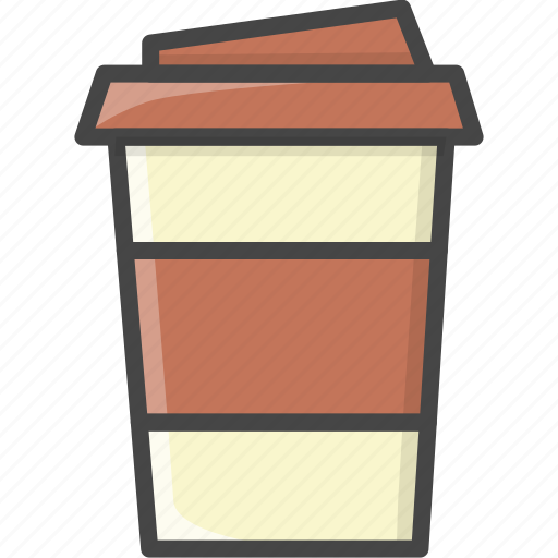 coffee, cup, drink, filled, food, milk, outline icon