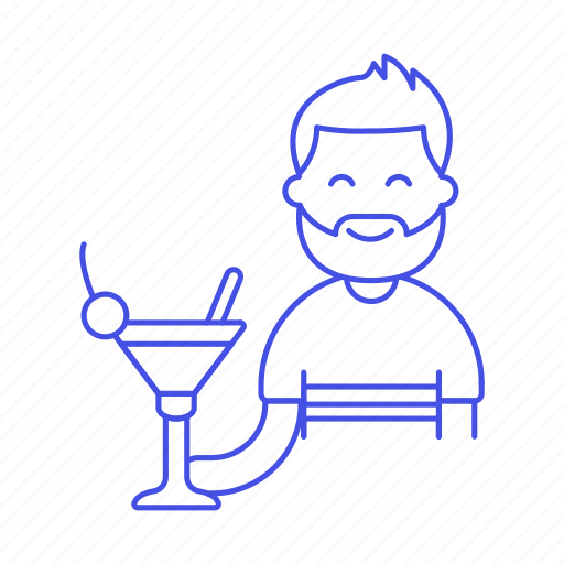 2, alcohol, bar, cherry, client, cocktail, drink, glass, half, holding, male, martini, pub, straw, tavern icon