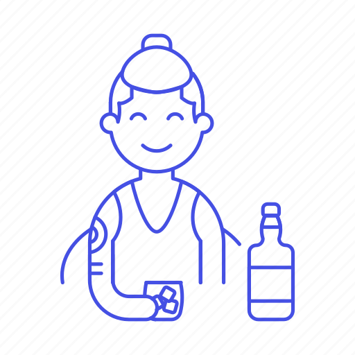 1, alcohol, bar, bottle, client, drink, glass, half, hand, holding, ice, male, on, rocks, the, whiskey icon
