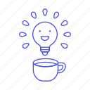 bulb, coffee, creativity, drinks, happy, idea, light, sparking icon