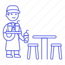 barista, cafe, cafeteria, coffee, drinks, frappe, frozen, male, round, serving, shop, stool, table, waiter icon