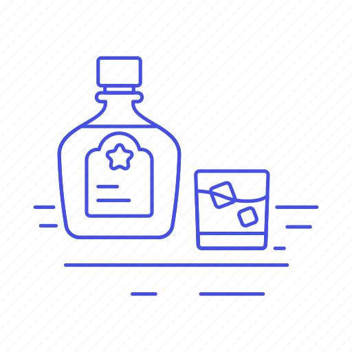 alcohol, bar, bottle, drink, glass, high, ice, on, rocks, spirit, the, whiskey, whisky icon