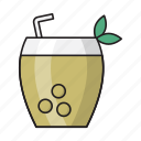 beverage, coconut, drink, juice, straw