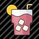 cube, ice, juice, soda, straw icon