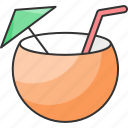 coconut, drink, refreshing, tropical drink