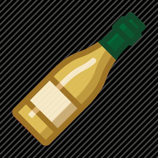 bottle, drinks, white, wine icon