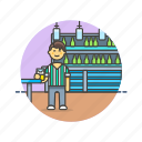 bar, beverage, drink, glass, man, pub, restaurant icon