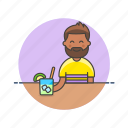 bar, beverage, class, drink, man, mojito, pub, restaurant icon
