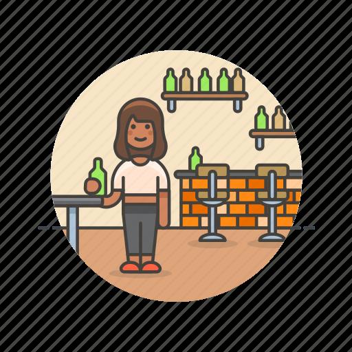 bar, beverage, bottle, drink, pub, rustic, woman icon