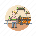bar, bottle, drink, man, pub, restaurant, rustic icon