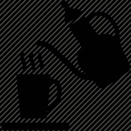 cup, hot tea, kettle, tea, tea pouring, tea serving, teapot icon