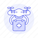 aerial, aid, aircraft, delivery, drone, first, health, medical, shipping, uav, unmanned, vehicle icon