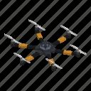 aerial, cartoon, drone, isometric, rotor, six, technology