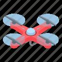 birthday, cartoon, drone, isometric, logo, red, silhouette