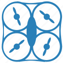 blue, device, digital, drone, form, rounded, security icon