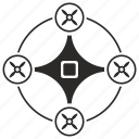 drone, fly, mashine, robot, round icon