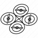 aerial, drone, electronic, fly, propeller, quadcopter, rotation icon