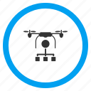 aircraft, airdrone, copter, distribution, flying drone, quadcopter, remote delivery icon