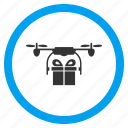 airdrone, copter shipment, flying drone, gift delivery, logistics, quadcopter, transportation icon
