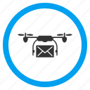 airdrone, copter shipping, envelope, flying drone, mail delivery, post, quadcopter icon