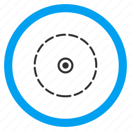 boundary, circular district, limited region, perimeter, radial border, round area, territory icon