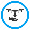 aircraft, cargo drone, copter delivery, drop down, freight, shipment, unload icon