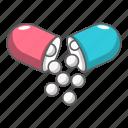 addiction, antibiotic, aspirin, capsule, cartoon, open, pill